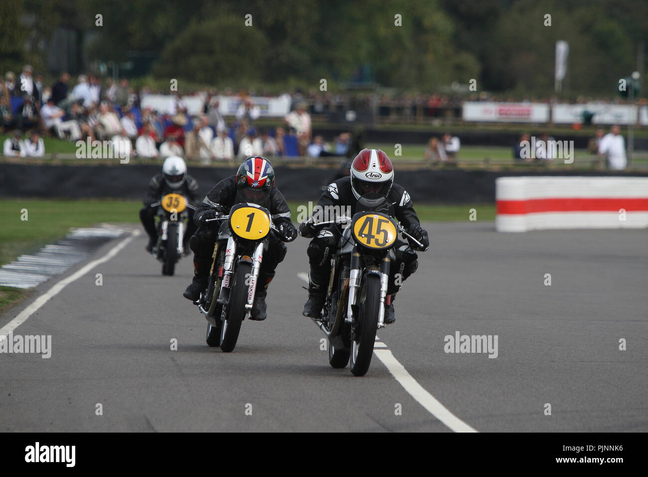 Goodwood, West Sussex, UK. 8th September 2018. Barry Sheene memorial trophy part 1 at the 20th Goodwood Revival in Goodwood, West Sussex, UK. © Malcolm Greig/Alamy Live News Stock Photo