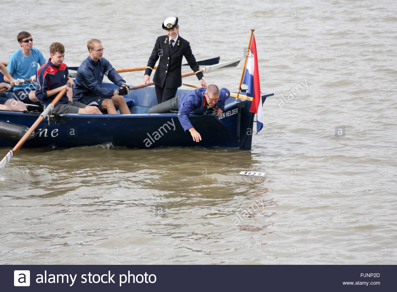 London, UK. 8th September, 2018. Debuted in 1988, The Great River Race is an annual handicaped race featuring  traditional-style, coxed craft powered by oars or paddles. Setting off from Millwall, with the finish in Ham. The winner will be crowned the UK Traditional Boat Champion. Credit: Katie Chan/Alamy Live News - Stock Image