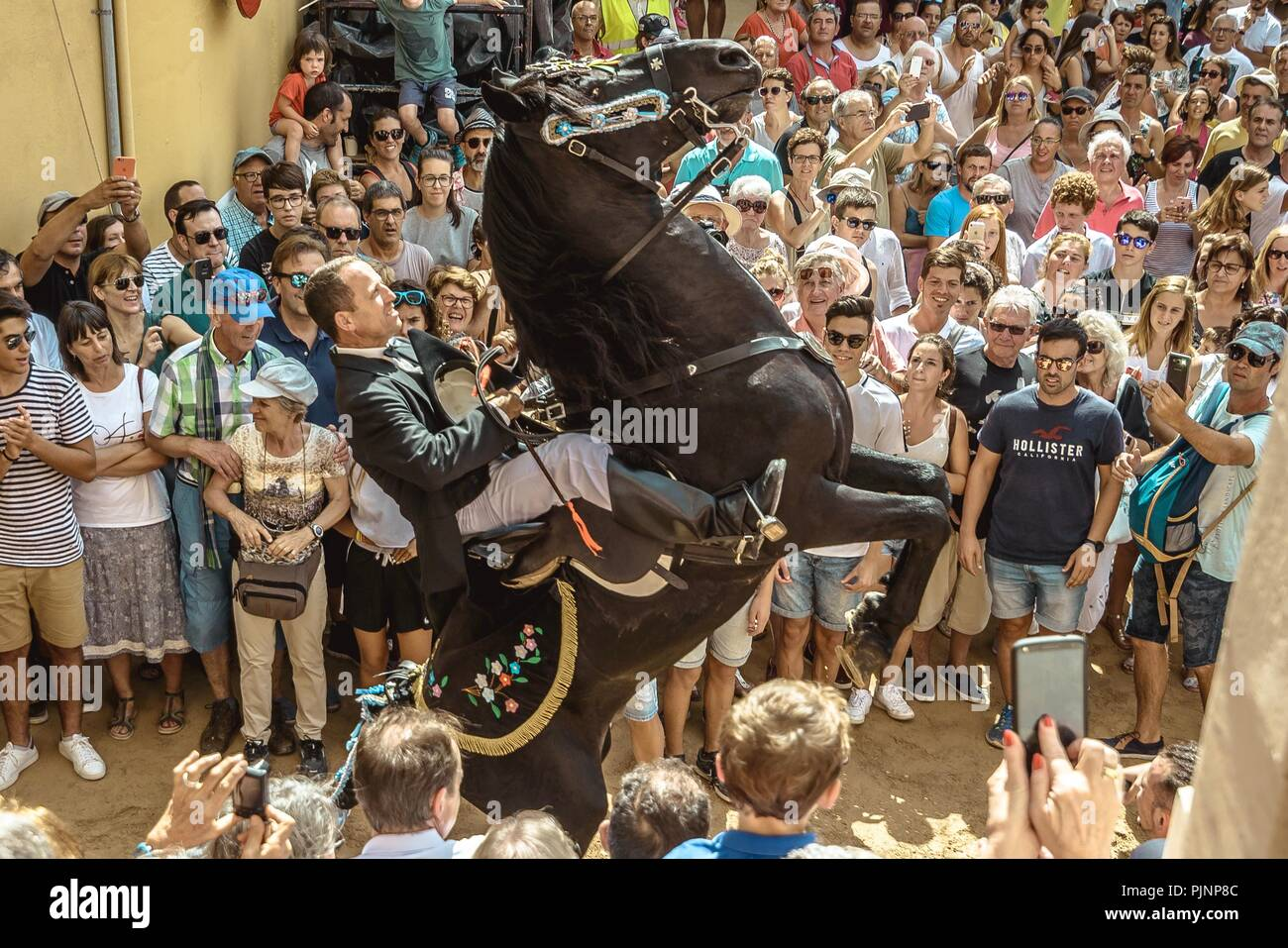 Mahon, Spain. 8 September, 2018:  A 'caixer' (horse rider) rears up on his horse in between the cheering crowd prior to the 'Jaleo' of the traditional Gracia Festival in Mahon, celebrating its patron, Our Lady of Grace Credit: Matthias Oesterle/Alamy Live News - Stock Image