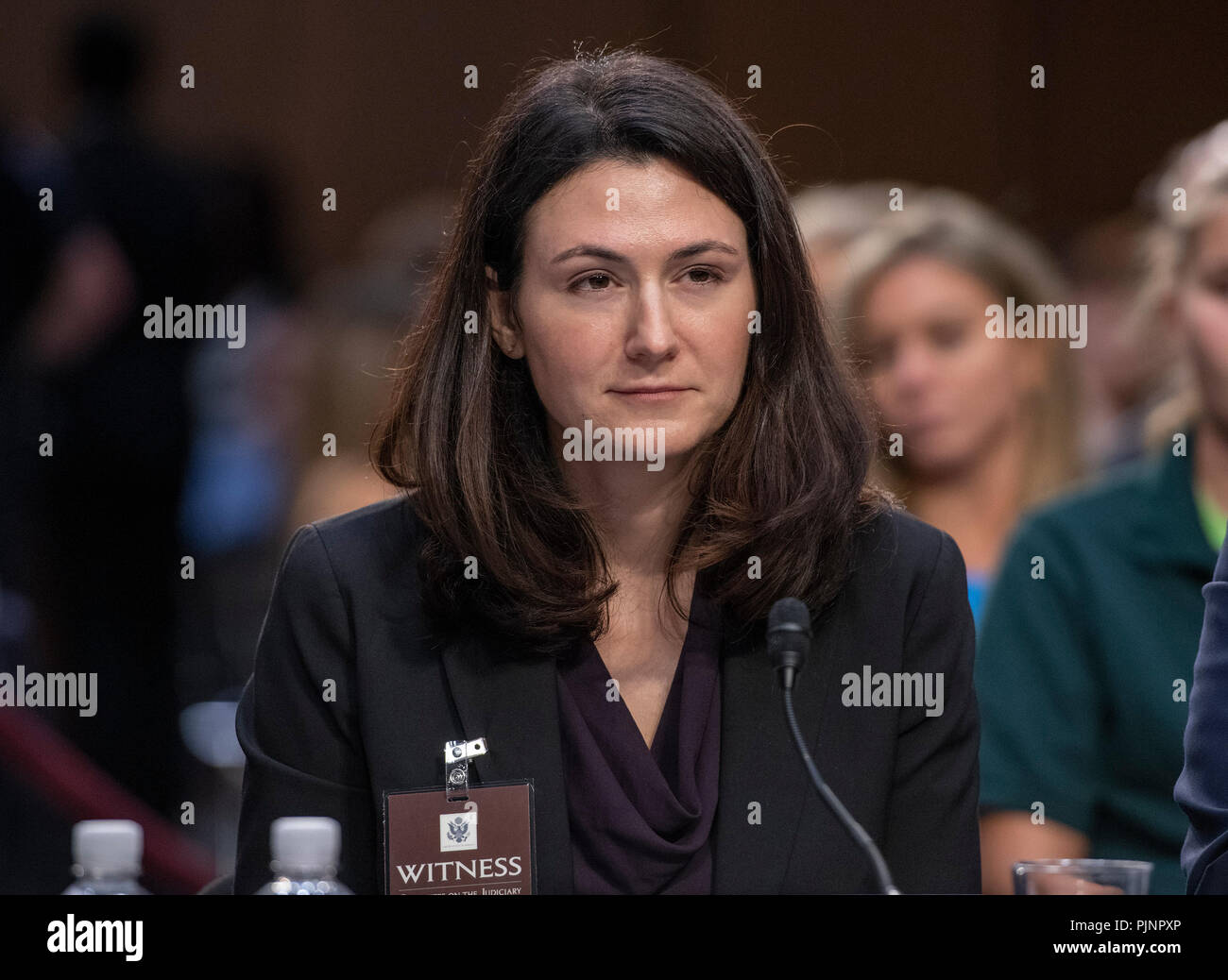 Washington, USA. 7th September 2018. Professor Rebecca Ingber, Associate Professor of Law Boston University School of Law, Boston, Massachusetts, testifies against the nomination of Judge Brett Kavanaugh before the US Senate Judiciary Committee on his nomination as Associate Justice of the US Supreme Court to replace the retiring Justice Anthony Kennedy on Capitol Hill in Washington, DC on Friday, September 7, 2018. Credit: Ron Sachs/CNP /MediaPunch Credit: MediaPunch Inc/Alamy Live News - Stock Image