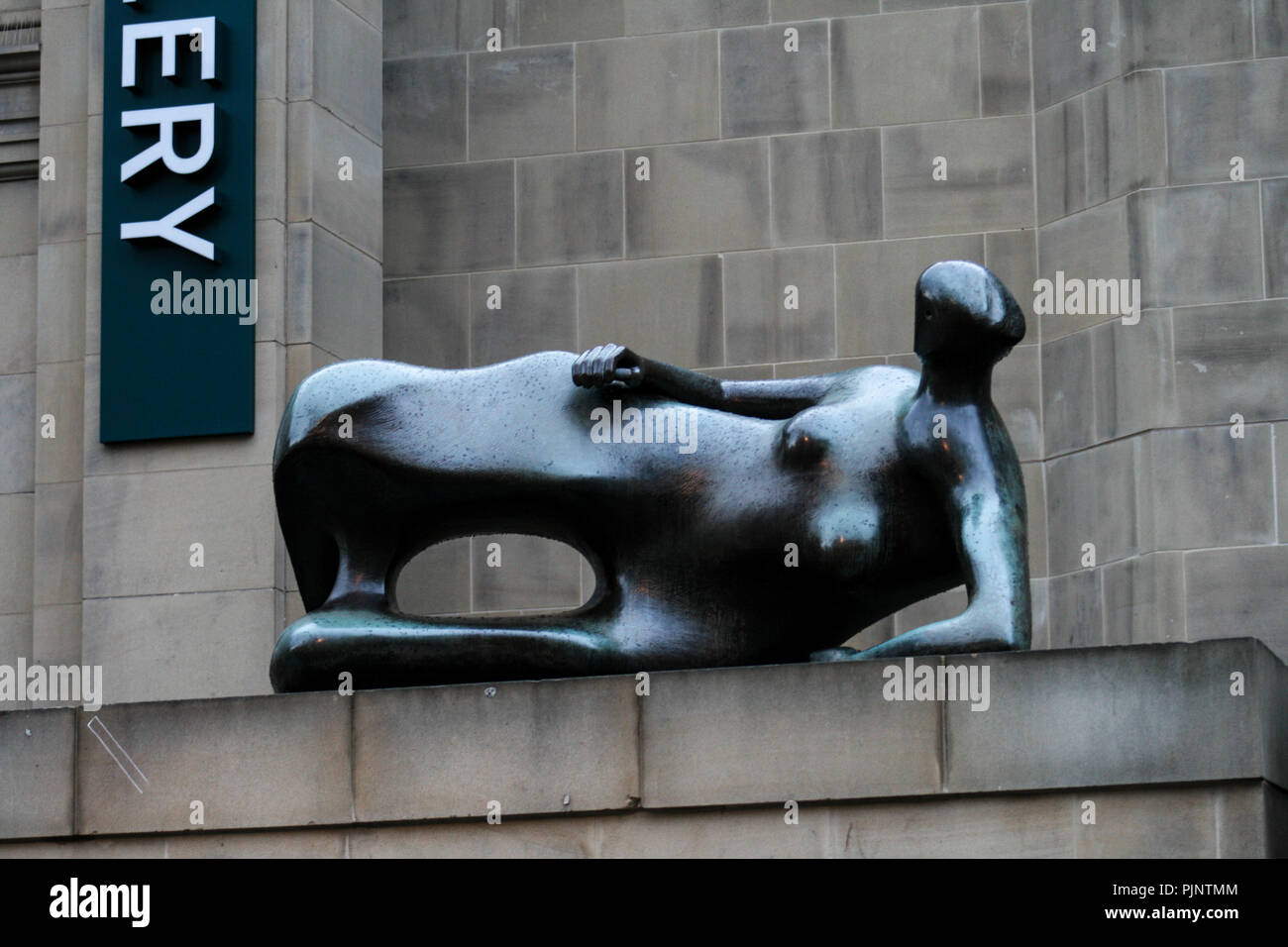 Leeds, UK. 16th June, 2012. Reclining Woman sculpture by Henry Moore at the entrance to Leeds City Art Gallery, Library & Henry Moore Institute.Leeds is the largest city in the northern English county of Yorkshire. It has one of the supreme diverse economies of UK's main employment hearts and has seen the fastest rate of private-sector jobs development of any UK city. It also has the highest ratio of private to public sector jobs of UK's Core Cities. Credit: Rahman Hassani/SOPA Images/ZUMA Wire/Alamy Live News Stock Photo