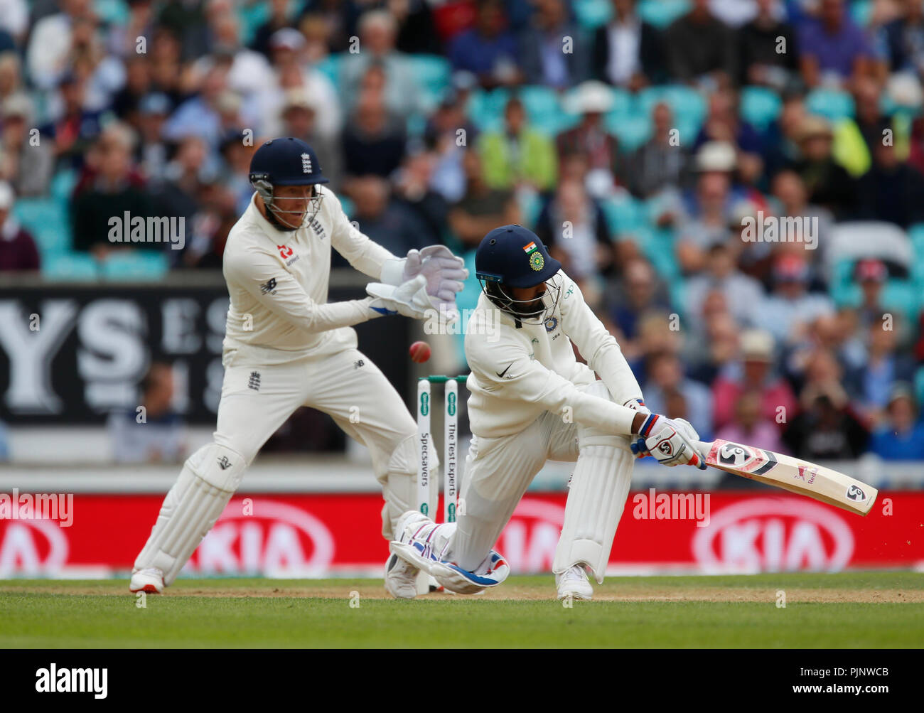 Kia Oval, London, UK. 8th Sep, 2018. Specsavers International Test Match Cricket, 5th test, day 2; KL Rahul of India edges the ball past the gloves of Jonny Bairstow of England Credit: Action Plus Sports/Alamy Live News - Stock Image