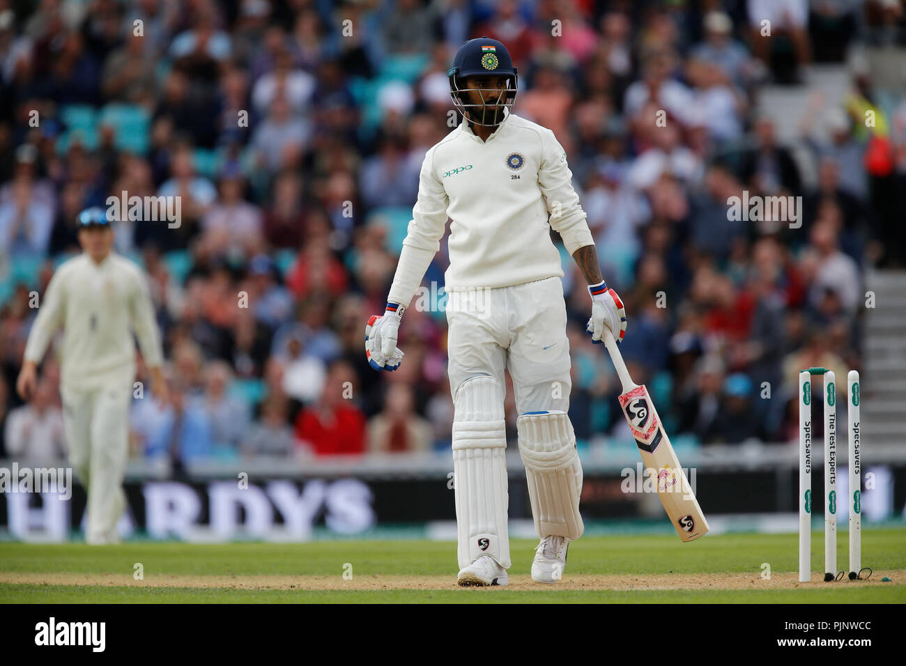 Kia Oval, London, UK. 8th Sep, 2018. Specsavers International Test Match Cricket, 5th test, day 2; KL Rahul of India is bowled by Sam Curran of England after the tea interval Credit: Action Plus Sports/Alamy Live News - Stock Image