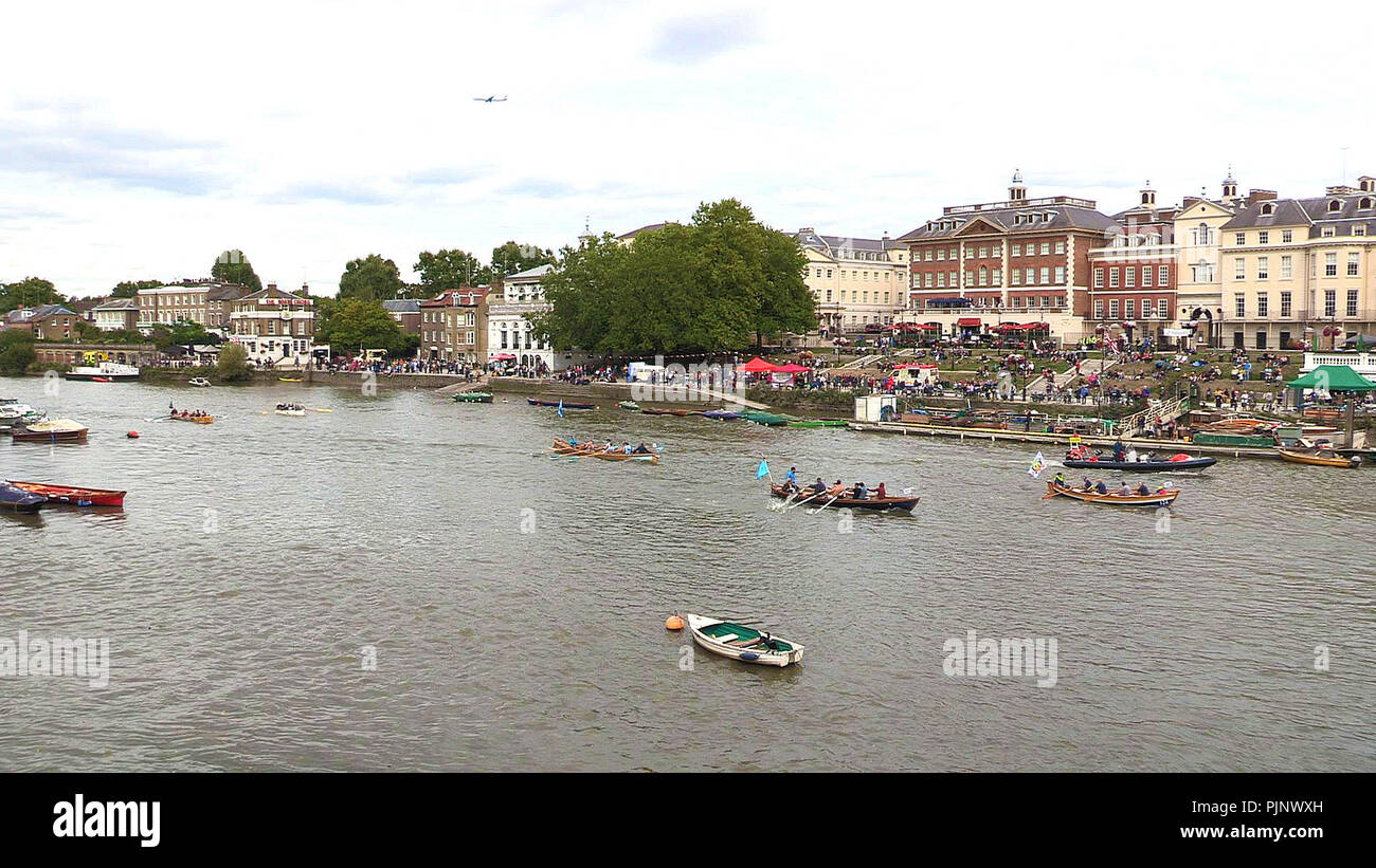 London, UK. 08th Sep, 2018. The Great River Race in London 2018 as competitors pass Richmond Waterfront  about 2 miles before the finishing line at Ham Credit: Peter Phipp/Travelshots.com/Alamy Live News Stock Photo