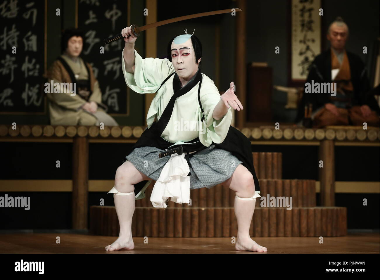 Moscow, Russia. 08th Sep, 2018. MOSCOW, RUSSIA - SEPTEMBER 8, 2018: A scene from the Keisei Hangonko production, a Shochiku Grand Kabuki performance by Chikamatsuza Troupe, as part of the Chekhov International Theatre Festival at the Mossovet Theatre. The production is performed as part of the Japan-Russia cross cultural year of 2018. Valery Sharifulin/TASS Credit: ITAR-TASS News Agency/Alamy Live News - Stock Image