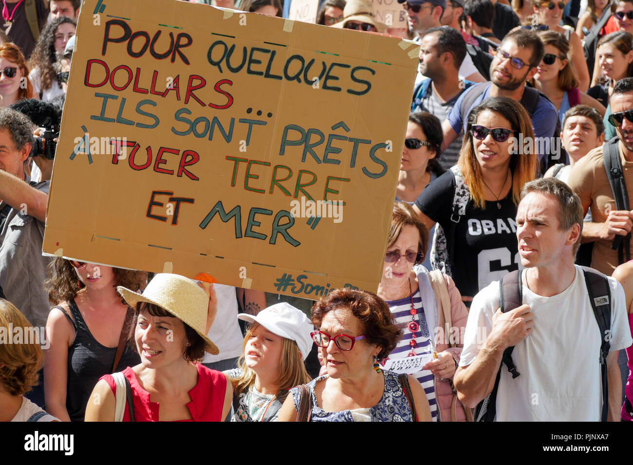 Lyon, France, September 8, 2018: More than 10000 persons gathered in Lyon center (Central Eastern France) on september 8, 2018 and marched during hours to protest against planet heating and claim for the defense of the planet Earth. Credit photo: Serge Mouraret/Alamy Live News Stock Photo