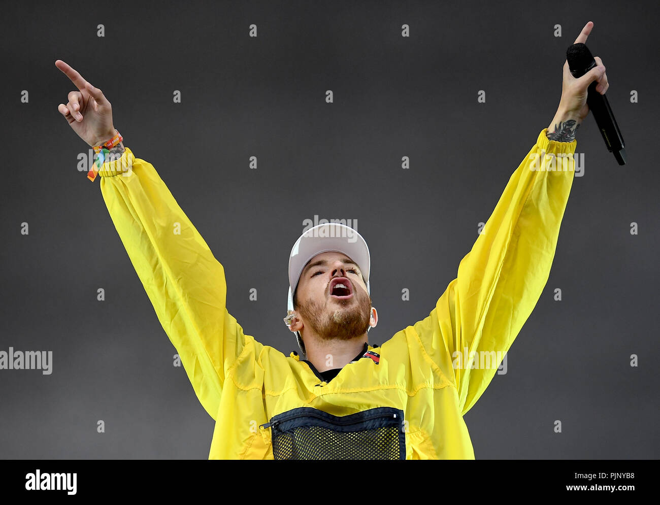 Berlin, Germany. 08th Sep, 2018. The rapper Casper is on stage at the two-day music festival Lollapalooza on the grounds of the Olympic Park. Credit: Britta Pedersen/dpa/Alamy Live News Stock Photo