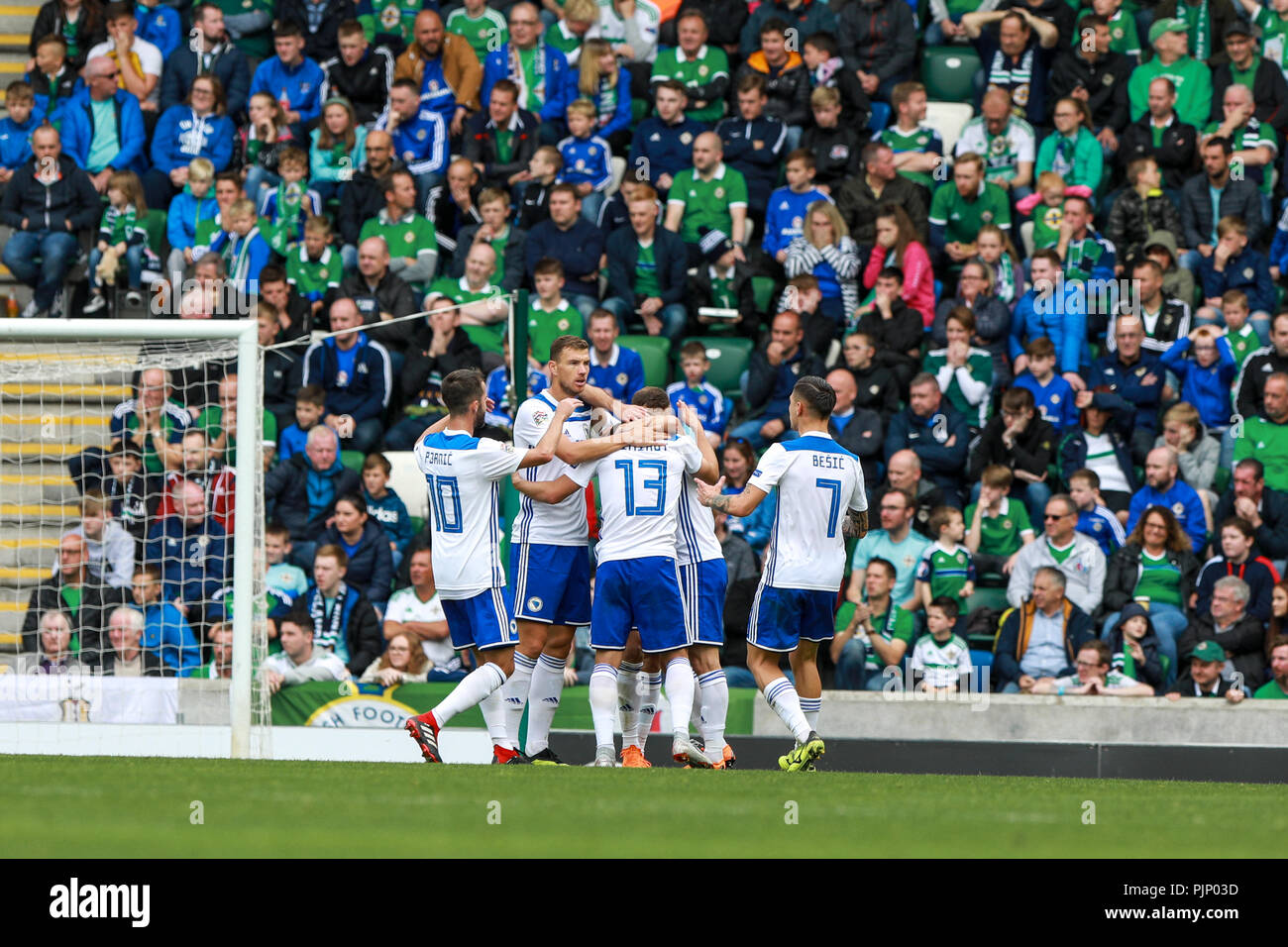 Belfast, Northern Ireland. Saturday 08 September, 2018   Bosnia & Herzegovina celebrate their second goal in front of a disheartened Northern Ireland crowd  Credit: Graham Service Credit: Graham  Service/Alamy Live News - Stock Image