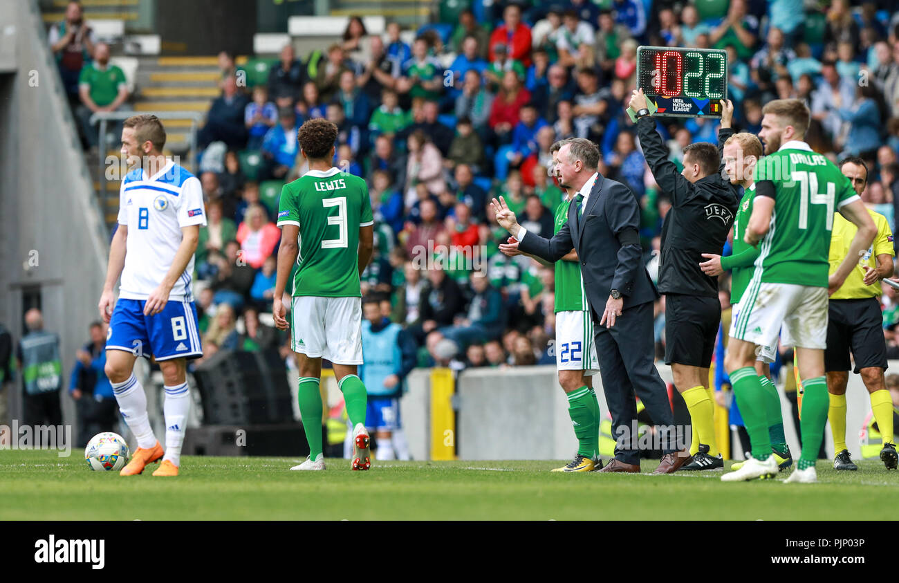 Belfast, Northern Ireland. Saturday 08 September, 2018   Northern Ireland coach Michael O'Neill making substitutions  Credit: Graham Service Credit: Graham  Service/Alamy Live News - Stock Image