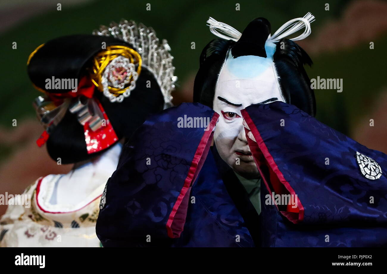 Moscow, Russia. 08th Sep, 2018. MOSCOW, RUSSIA - SEPTEMBER 8, 2018: Actor Ganjiro Nakamura IV in a scene from the Yoshinoyama production, a Shochiku Grand Kabuki dance performance by Chikamatsuza Troupe, as part of the Chekhov International Theatre Festival at the Mossovet Theatre. The production is performed as part of the Japan-Russia cross cultural year of 2018. Valery Sharifulin/TASS Credit: ITAR-TASS News Agency/Alamy Live News - Stock Image