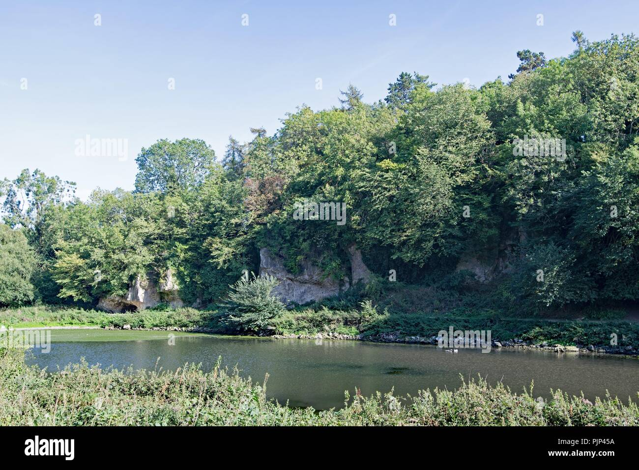 Taken to capture sight of some of the concealed caves at Creswell Craggs, in Derbyshire. - Stock Image