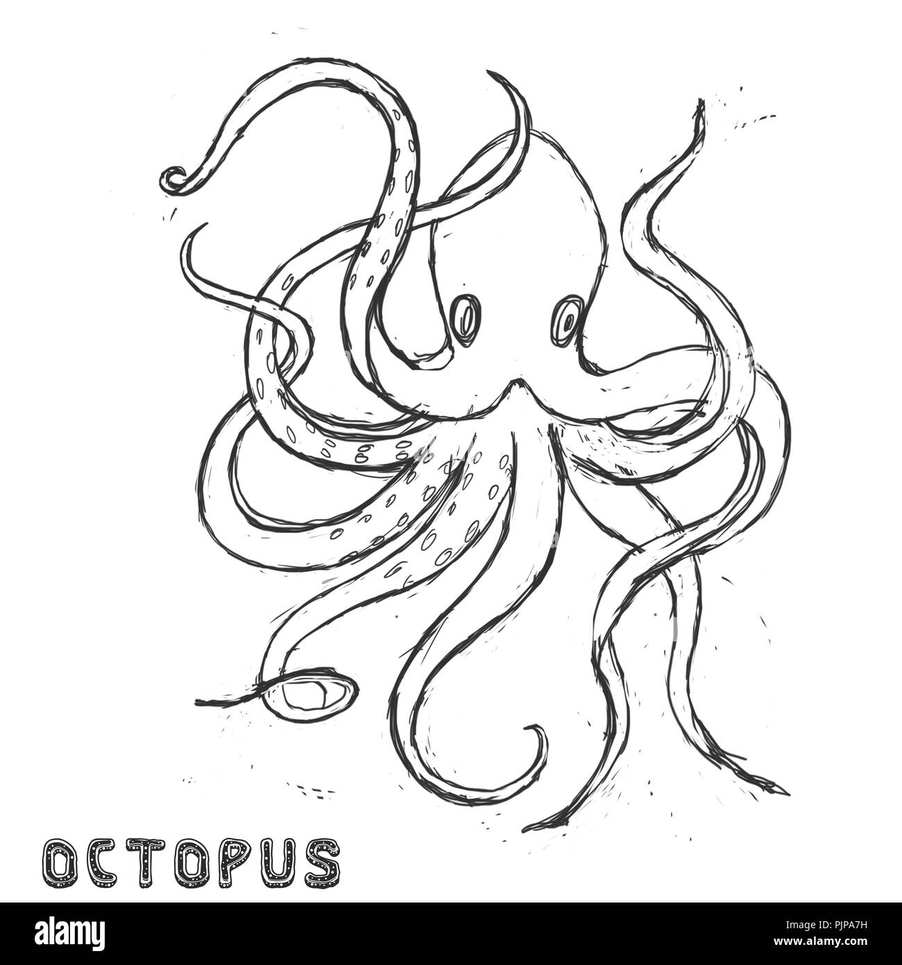 Sea beast character  illustration drawing geometric cute animal polar ocean face octopus eyes funny sea life color white and black Antarctica deep blu - Stock Image
