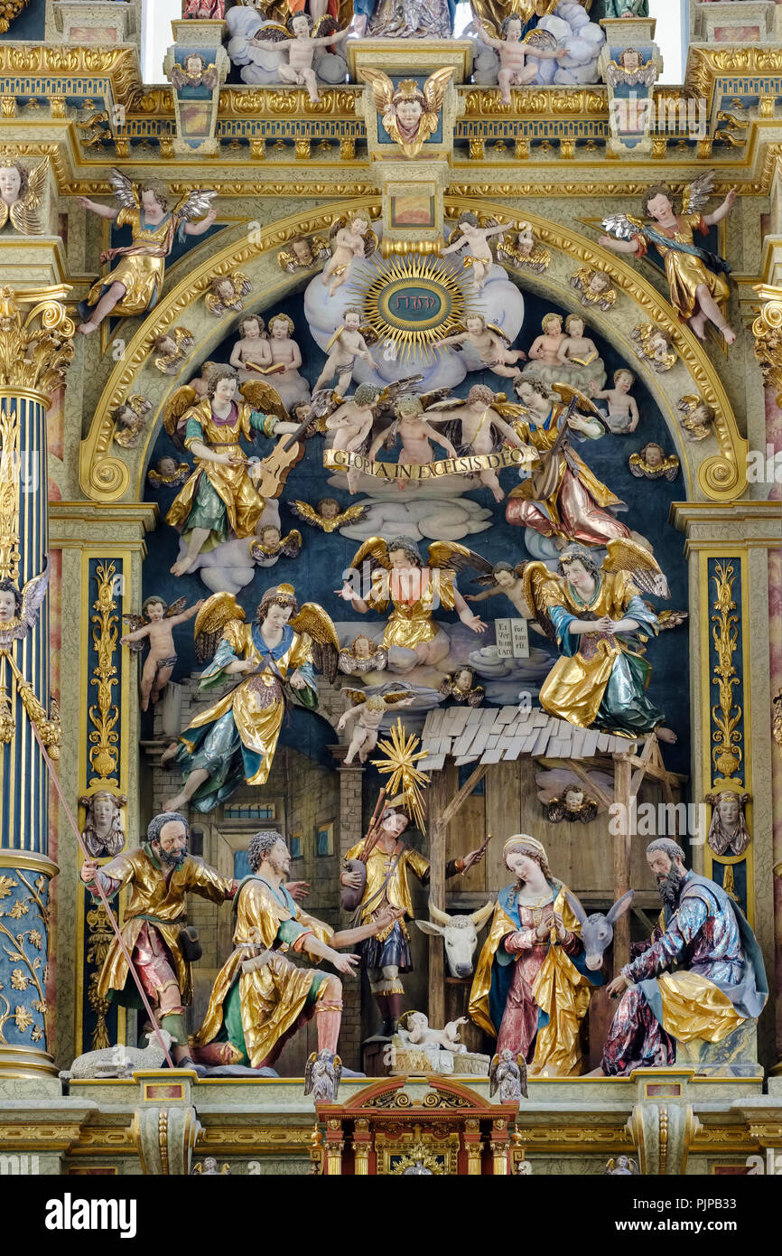 Adoration of the shepherds in the high altar, Basilica of St. Ulrich and Afra, Augsburg, Swabia, Bavaria, Germany - Stock Image