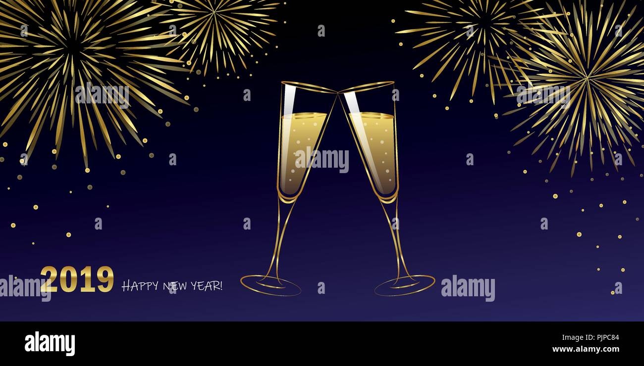 New Year golden fireworks and champagne glasses blue night sky vector illustration EPS10 - Stock Vector