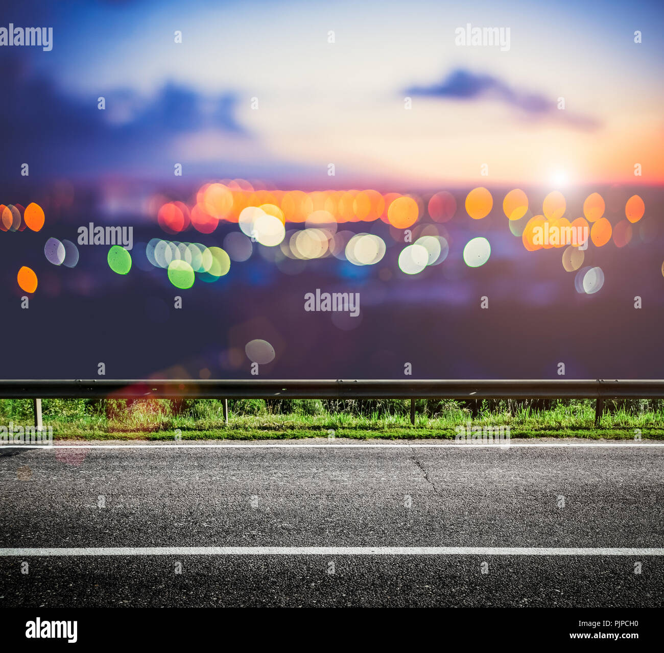 Night City Lights Bokeh Highway Road Background Stock Photo Alamy