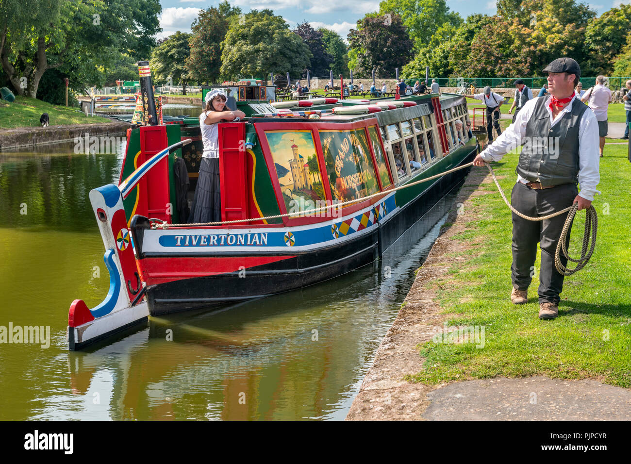 'Tivertonian', the last horse-drawn barge in the West Country, is prepared for another trip down the Grand Western Canal near Tiverton in Devon. - Stock Image