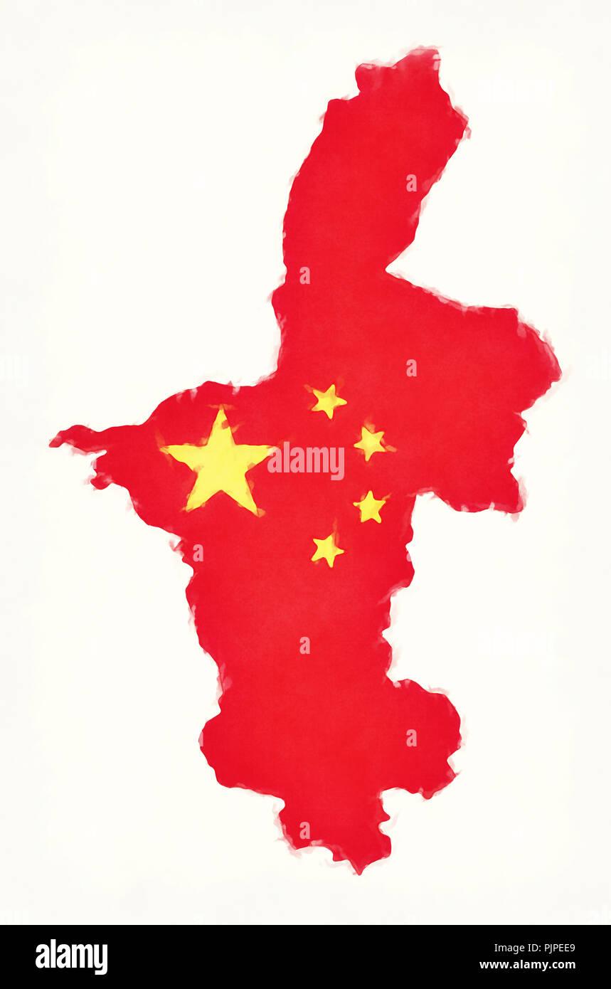 Ningxia China Map.Ningxia China Watercolor Map With Chinese National Flag Illustration