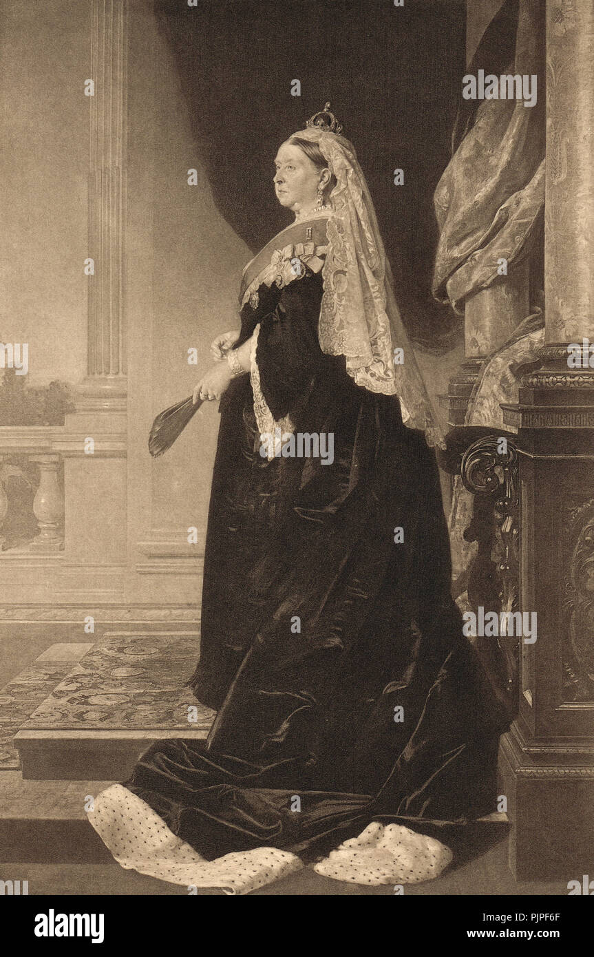 State portrait of Queen Victoria in 1885 - Stock Image