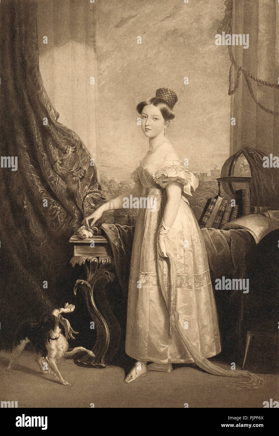 Princess later Queen Victoria, with her favourite dog Dash, circa 1832, aged 13 - Stock Image
