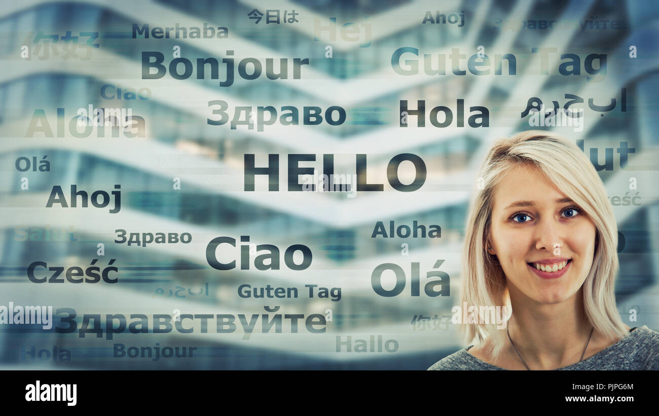 Student girl portrait and word hello translated in different languages on modern background. Young school teacher learning and speaking many languages - Stock Image