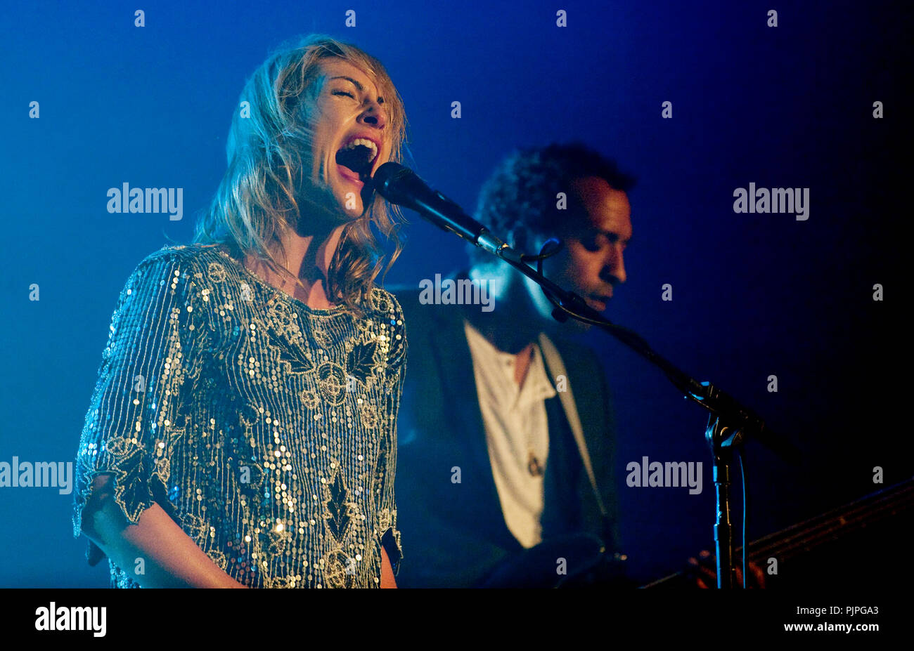 Canadian New Wave/indie rock band Metric performing at the Nuits du Botanique festival in Brussels (Belgium, 08/05/2009) - Stock Image