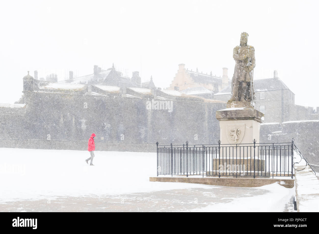 Stirling Castle in snow - castle was closed due to heavy snowfall - 2018 beast from the east - Stock Image