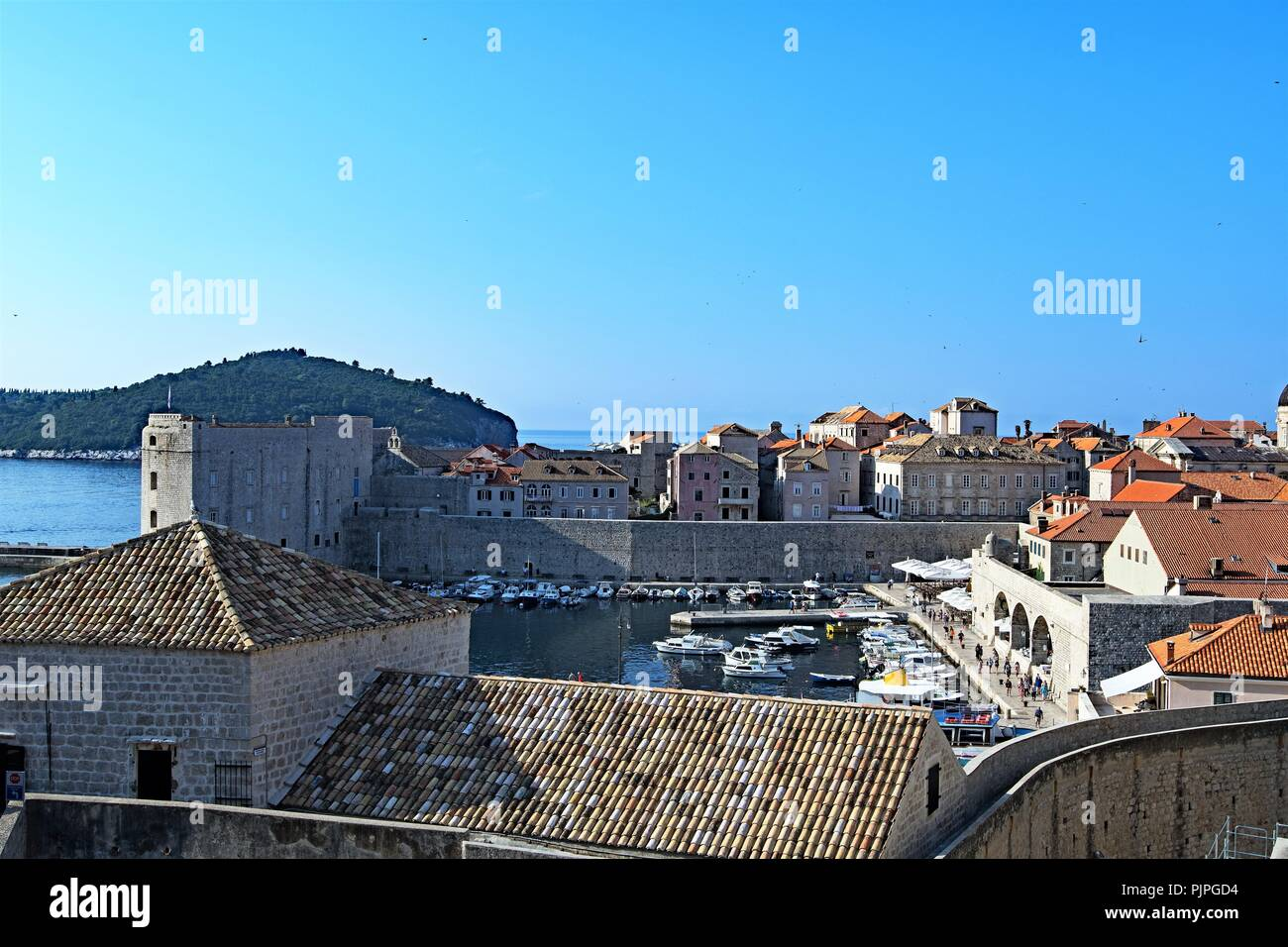 Views of the harbour entrances to Dubrovnik Old town, Croatia. - Stock Image