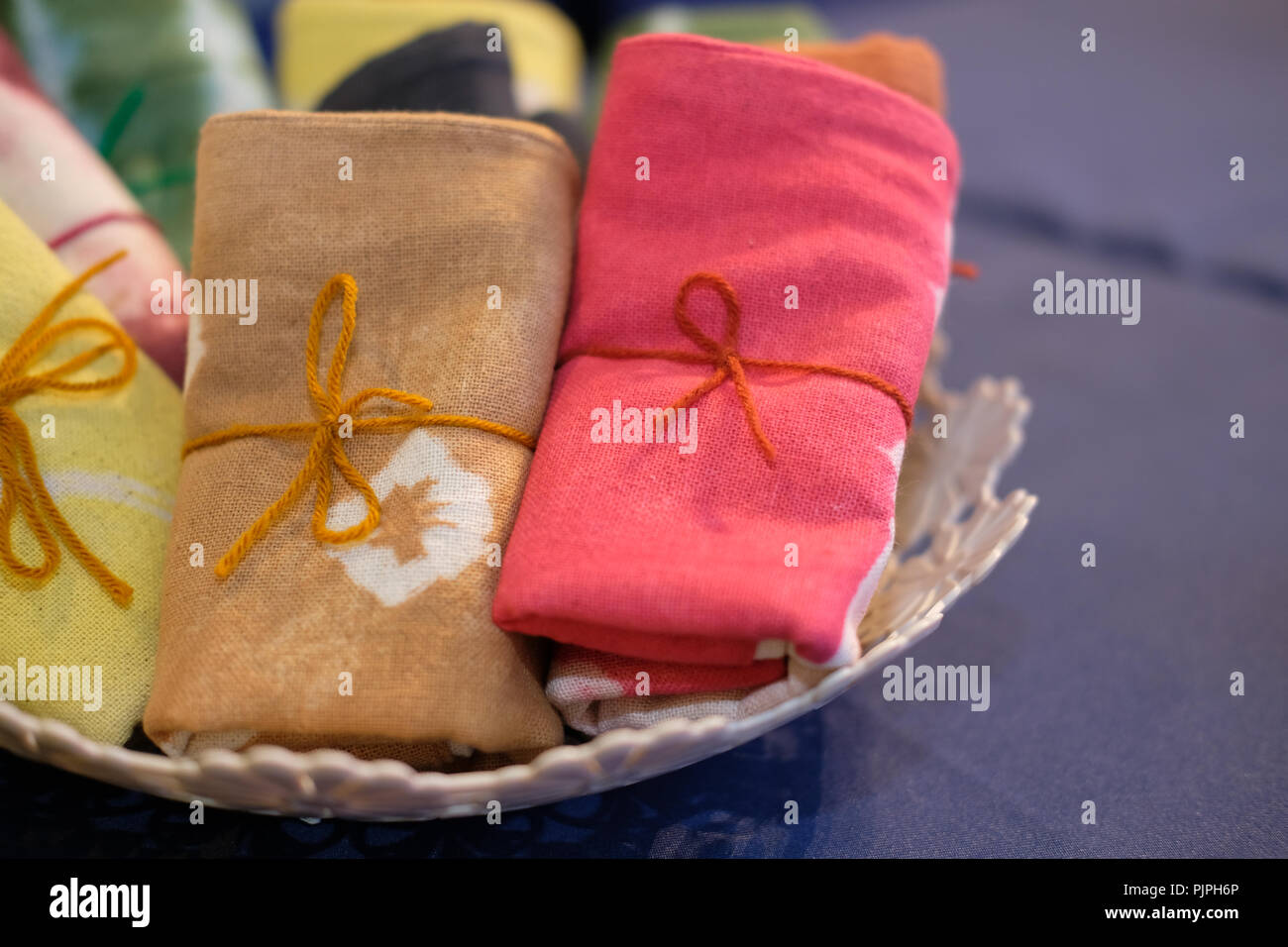 1169c1dc colorful tie dye fabric bag scarf. handmade handicraft for sale - Stock  Image