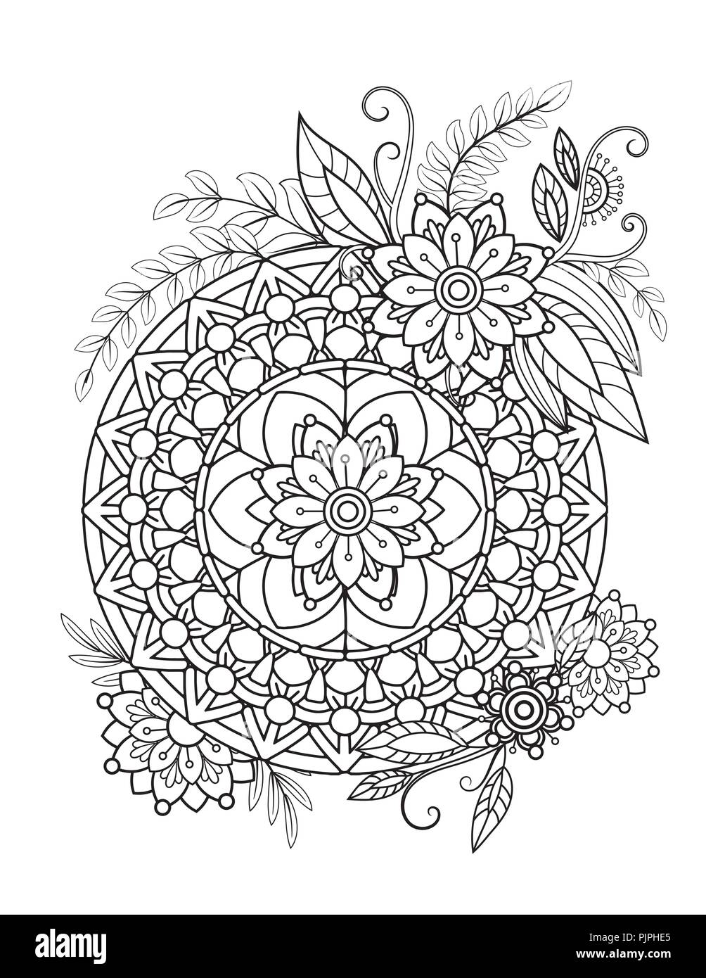 Floral Mandala Pattern In Black And White Adult Coloring Book Page With Flowers Mandalas