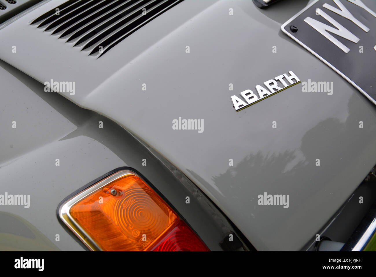 Close up picture of a classic Abarth Fiat 500 car - Stock Image