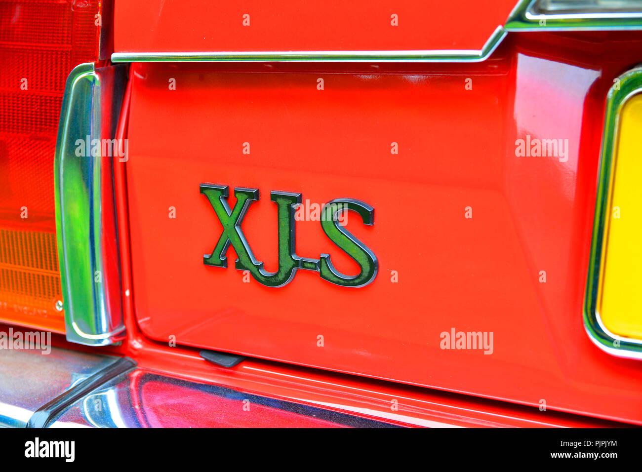 Close up photograph of a classic Jaguar XJS car - Stock Image