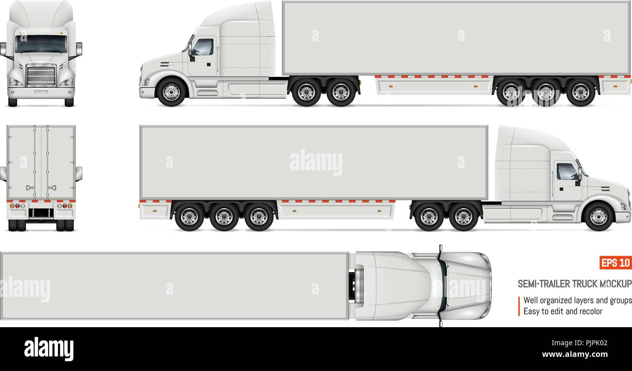 Semi Trailer Truck Vector Mockup For Car Branding And