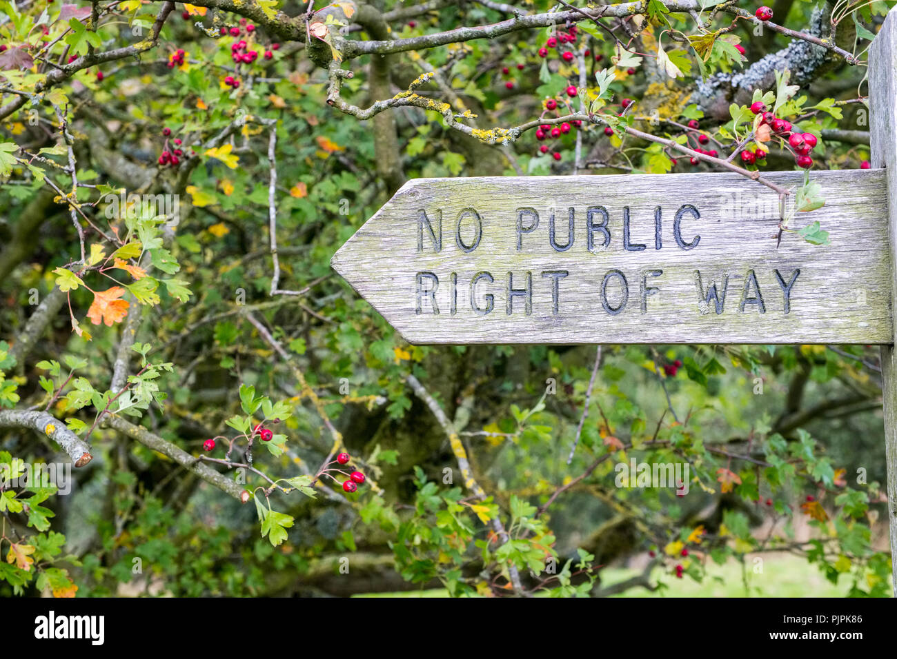 'No Public Right of Way' Fingerpost in the Peak District National Park - Stock Image
