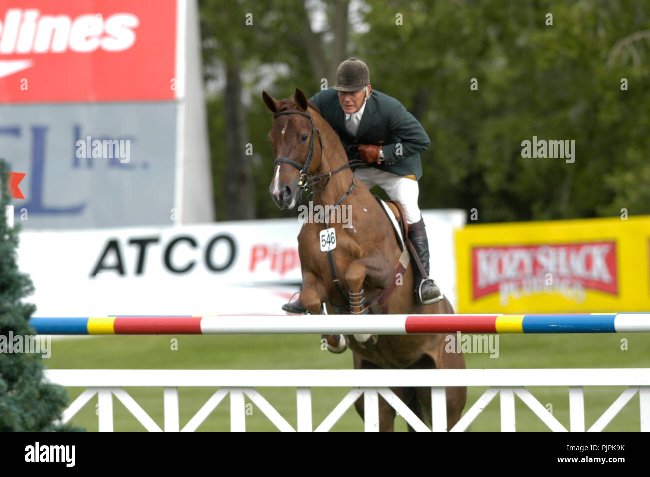 The National, Spruce Meadows June 2002, Eddie Macken (IRE) riding Zeline Stock Photo