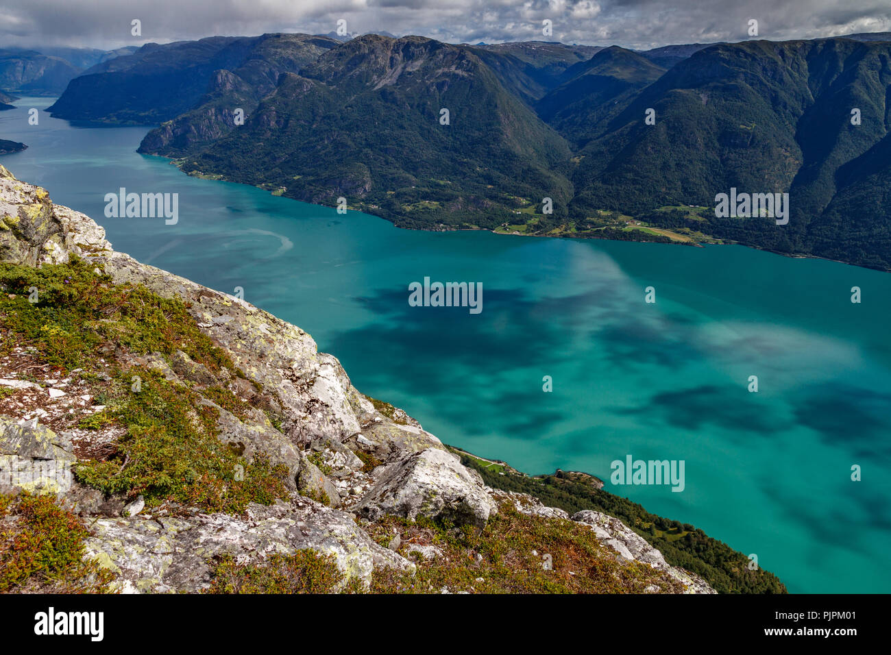 Sognefjord top view with deep green water - Stock Image