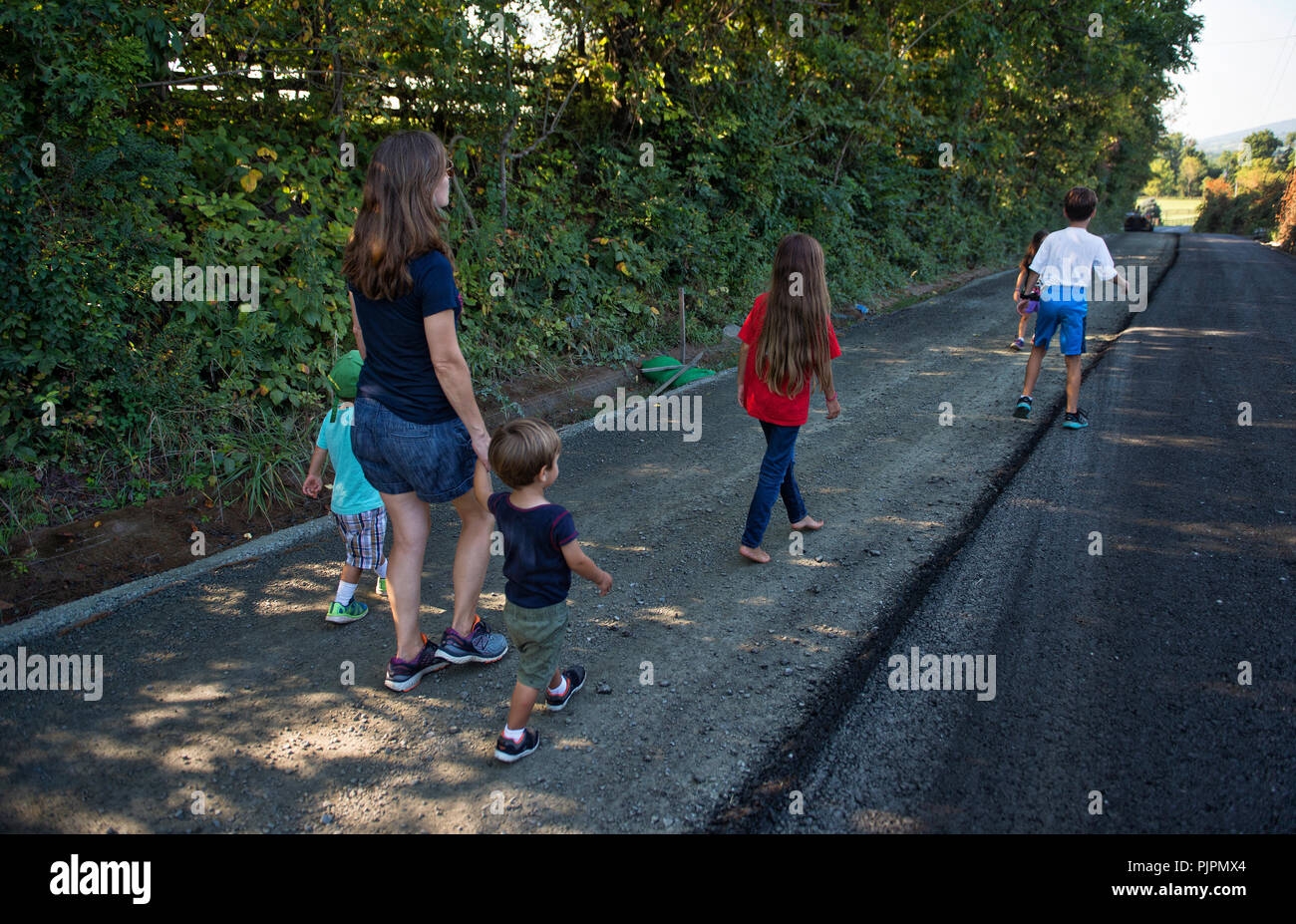 UNITED STATES: September 4, 2018: Work has started for the paving of Williams Gap road in Western Loudoun that will forever change the character of th - Stock Image