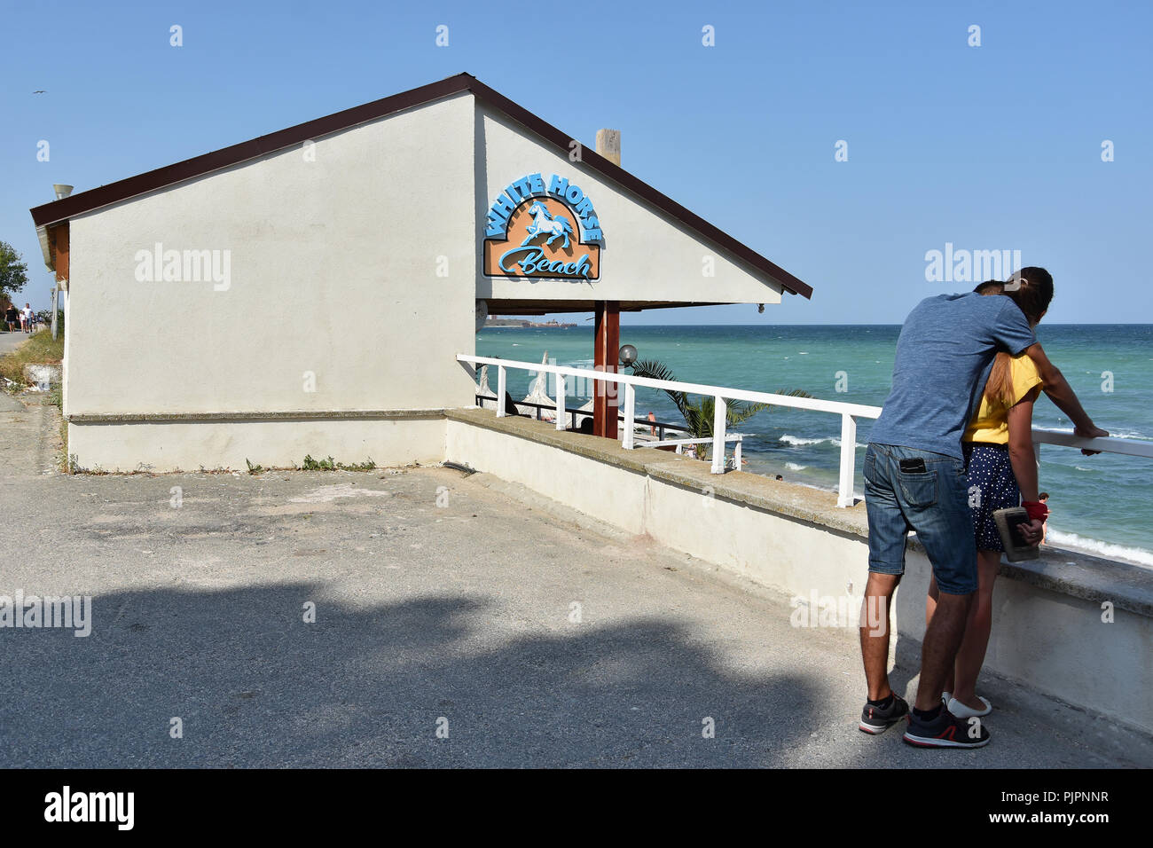 Costinesti Romania August 30 2018 Tourists On The Shore Of Black Sea At Costinesti Resort Romania White Horse Beach Stock Photo Alamy