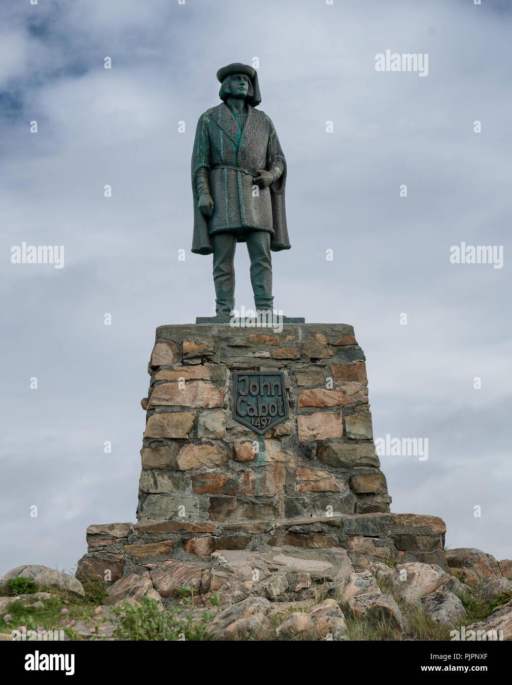 A bronze statue of the explorer John Cabot at Cape Bonavista in Bonavista, Newfoundland and Labrador - Stock Image