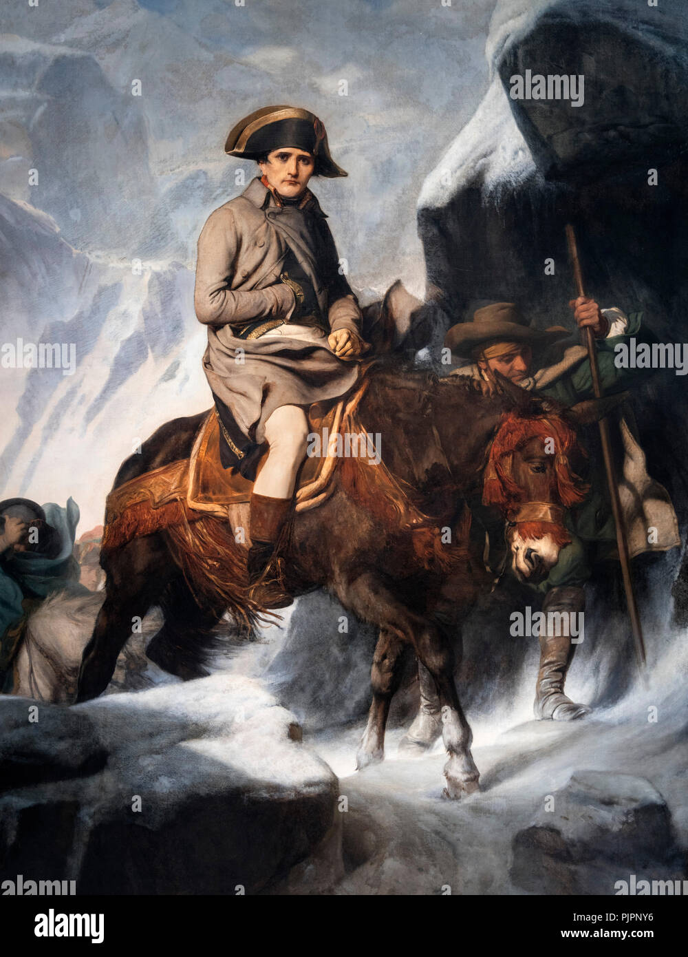 Napoleon Bonaparte Crossing the Alps by Paul Delaroche, 1848. - Stock Image