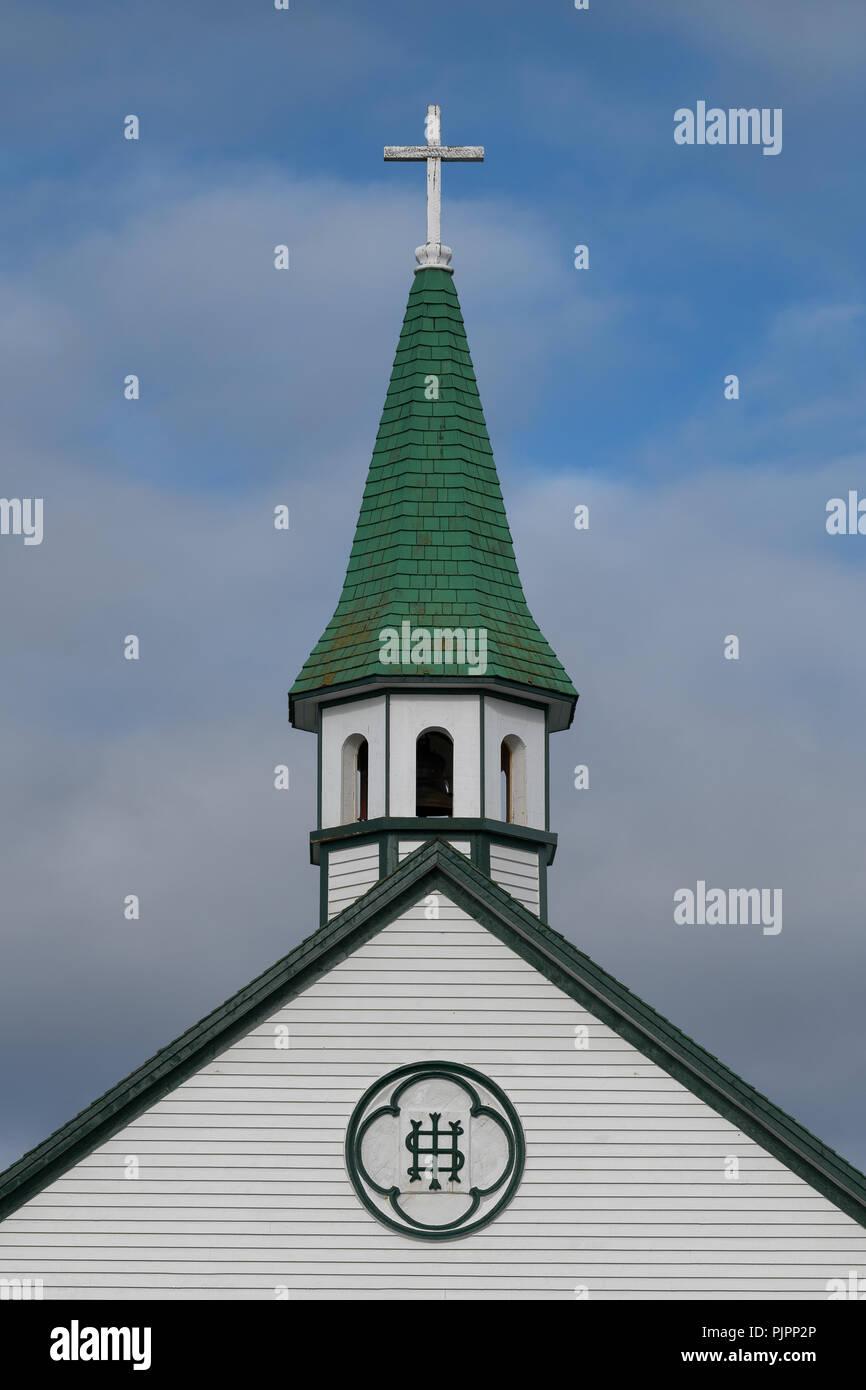 Closeup of the steeple of the historic Saint Joseph's Roman Catholic Church on Chapel Hill in Bonavista, Newfoundland and Labrador - Stock Image