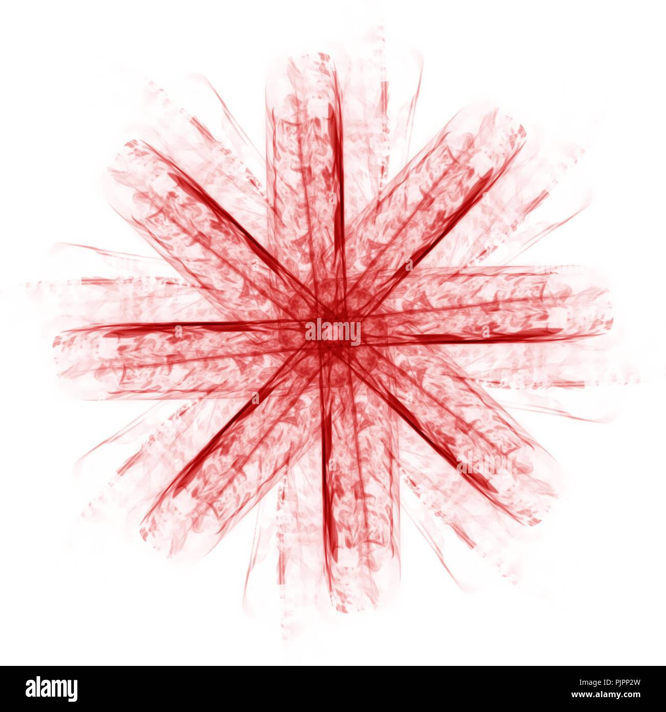 red lucent mandala star watercolor pattern on white background, vector illustration - Stock Image