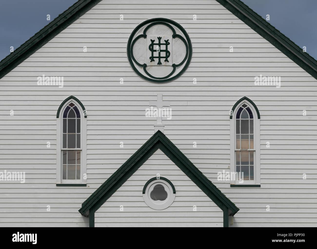 Closeup of the facade of the front of historic Saint Joseph's Roman Catholic Church on Chapel Hill in Bonavista, Newfoundland and Labrador - Stock Image