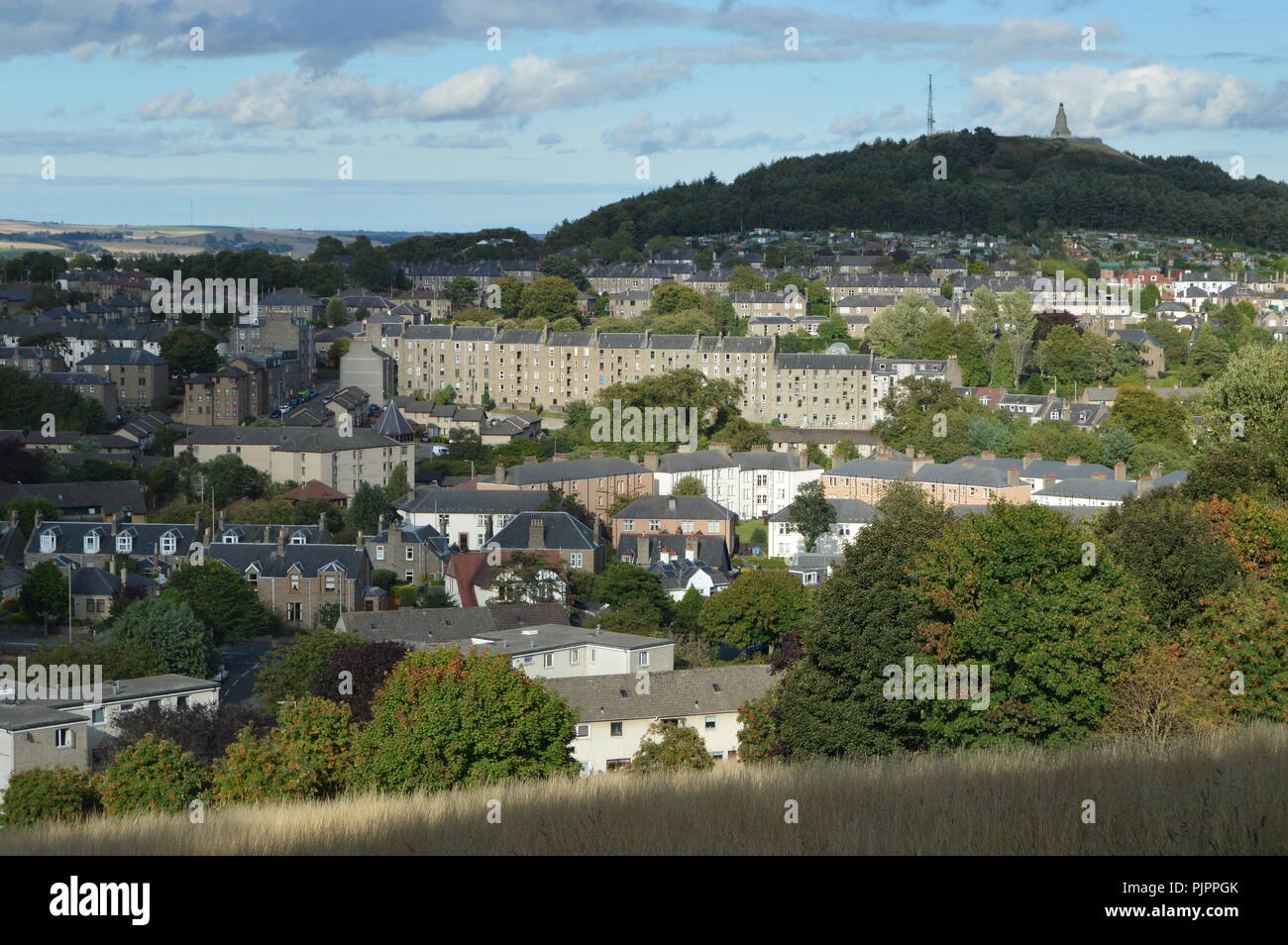 View from Balgay Hill over Lochee with Cox's Stack, Dundee, Scotland, September 2018 Stock Photo