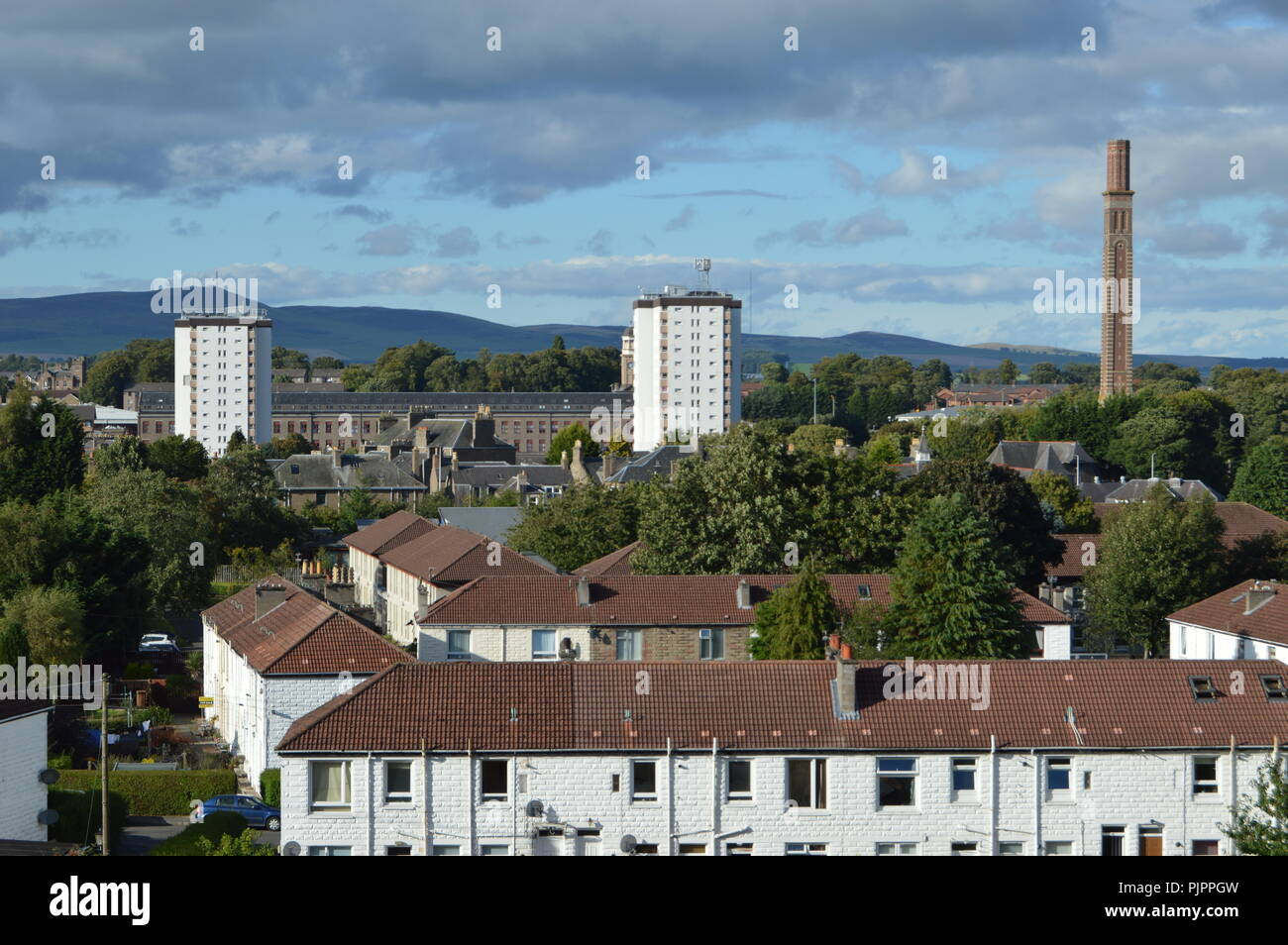 View from Balgay Hill over Lochee with Cox's Stack, Dundee, Scotland, September 2018 - Stock Image