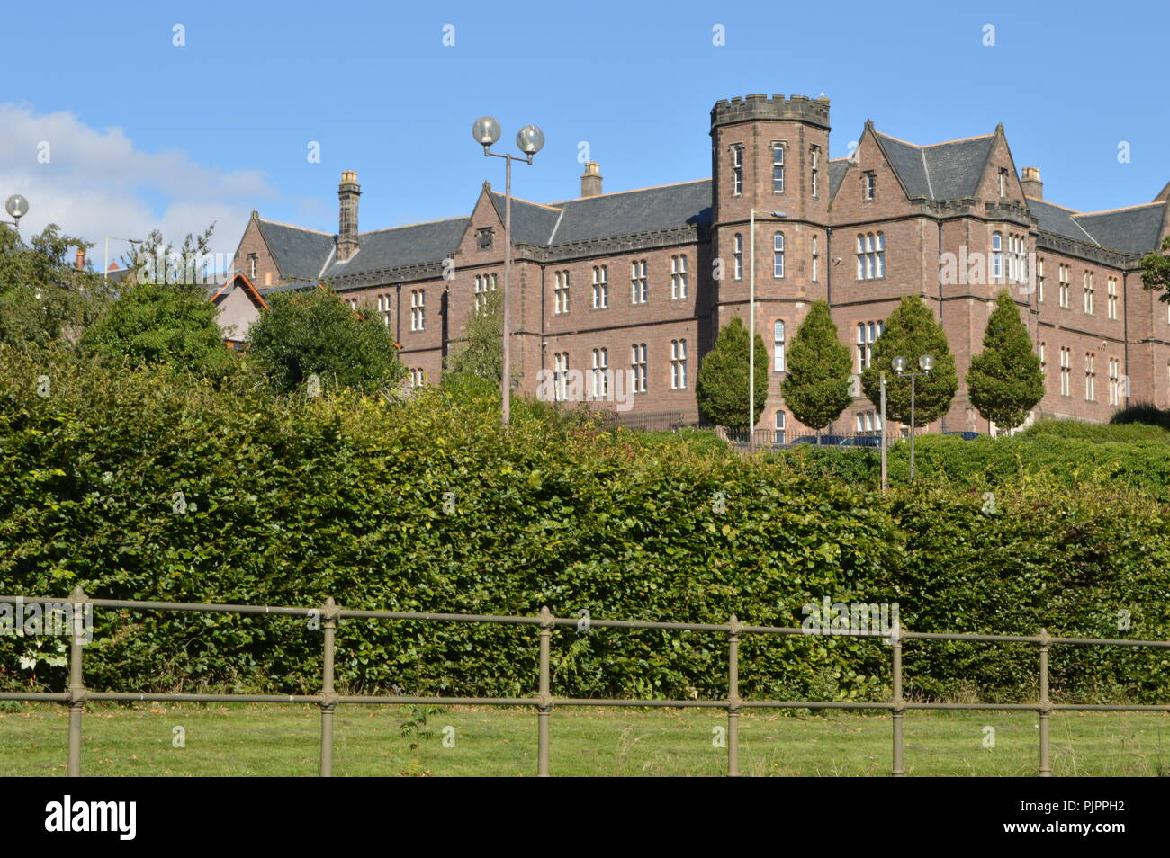 Former Royal Infirmary from Dudhope Castle, ancient seat of the Scrimgeour Family, Dundee, Scotland, September 2018 - Stock Image