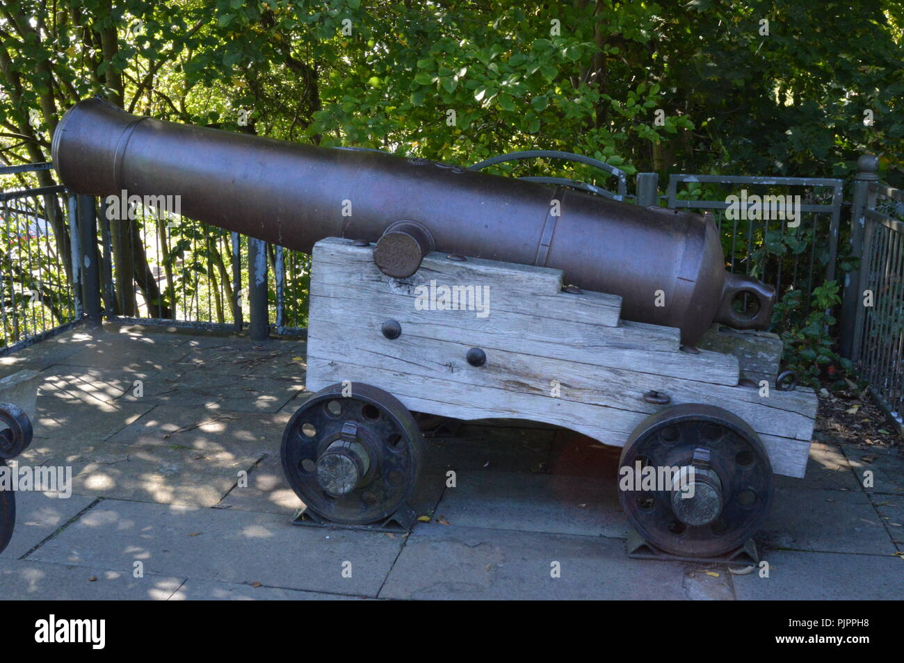 19th century Canon adjacent to Dudhope Castle, ancient seat of the Scrimgeour Family, Dundee, Scotland, September 2018 - Stock Image