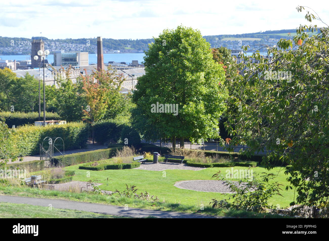 Garden of Dudhope Castle, ancient seat of the Scrimgeour Family, Dundee, Scotland, September 2018 - Stock Image