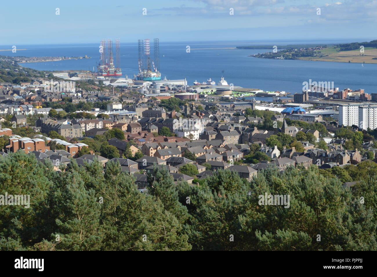 Views over Dundee and the River Tay, Scotland from The Law, September 2018 - Stock Image