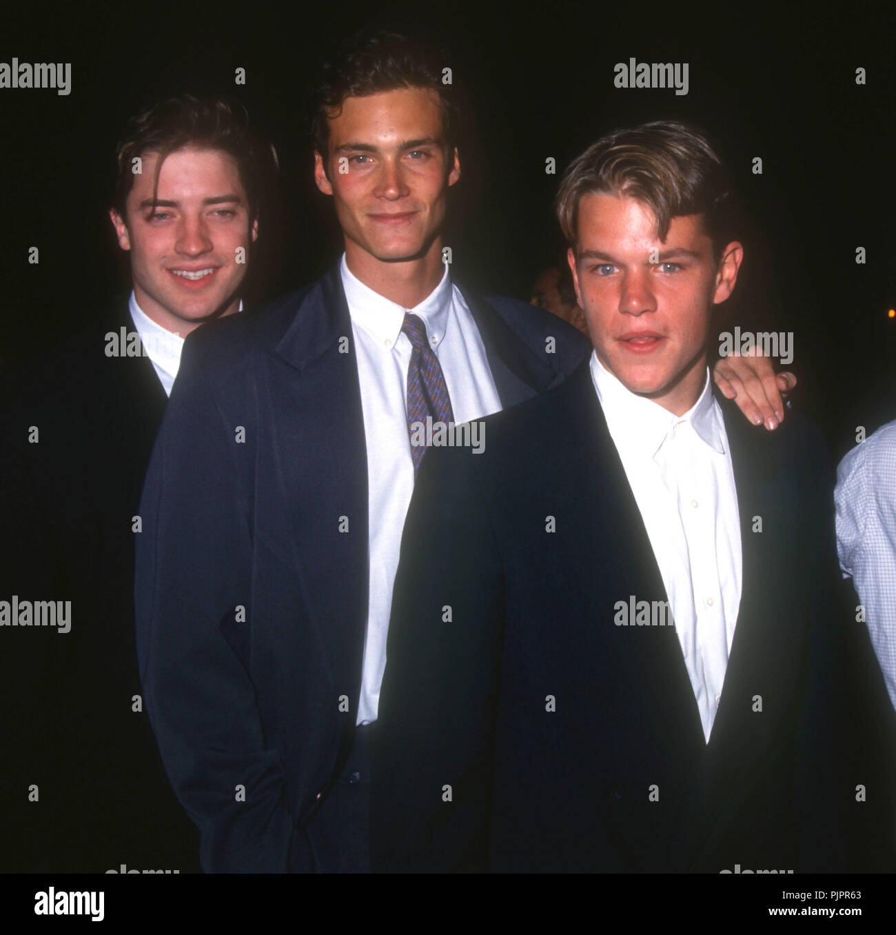 BEVERLY HILLS, CA - SEPTEMBER 11: (L-R) Actors Brendan Fraser, Randall Batinkoff and Matt Damon attend Paramount Pictures' 'School Ties' Beverly Hills Premiere on September 11, 1992 at the Academy Theatre in Beverly Hills, California. Photo by Barry King/Alamy Stock Photo Stock Photo