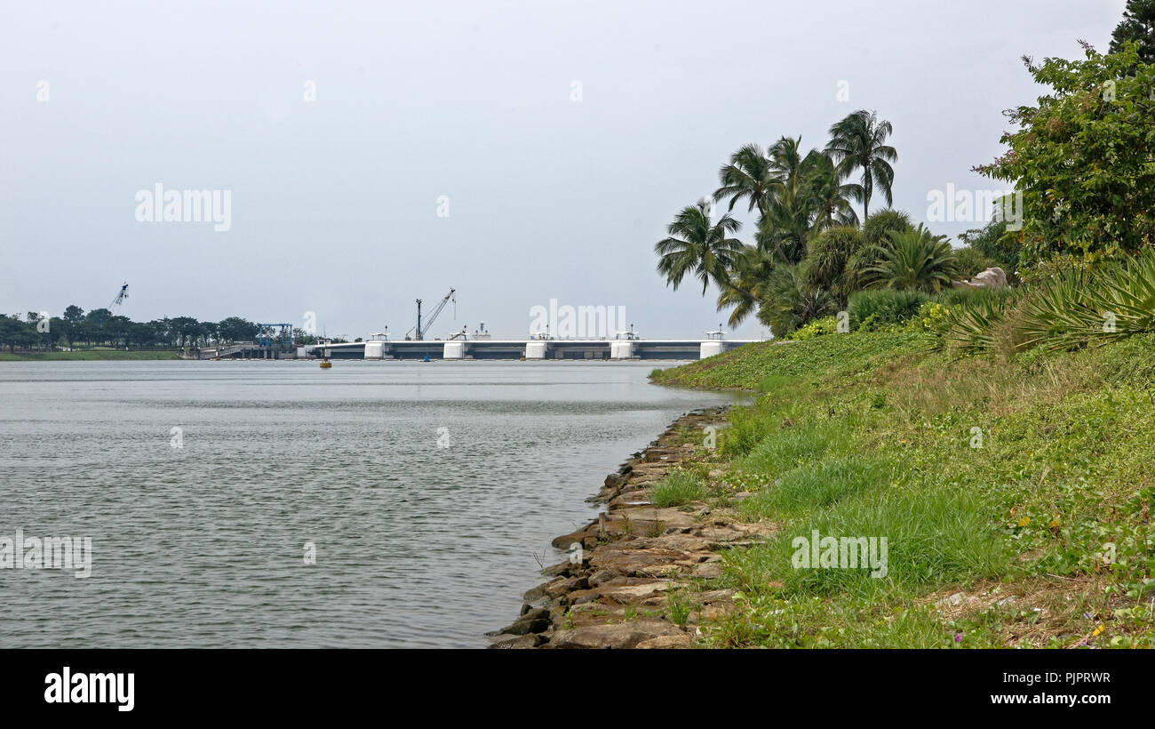 Singapore, Singapore- August 07, 2018: View of the Kallang River Stock Photo